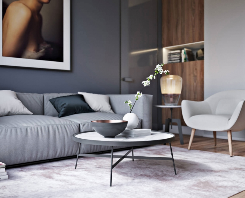 3D Render of a Living Room with a Couch and Armchair
