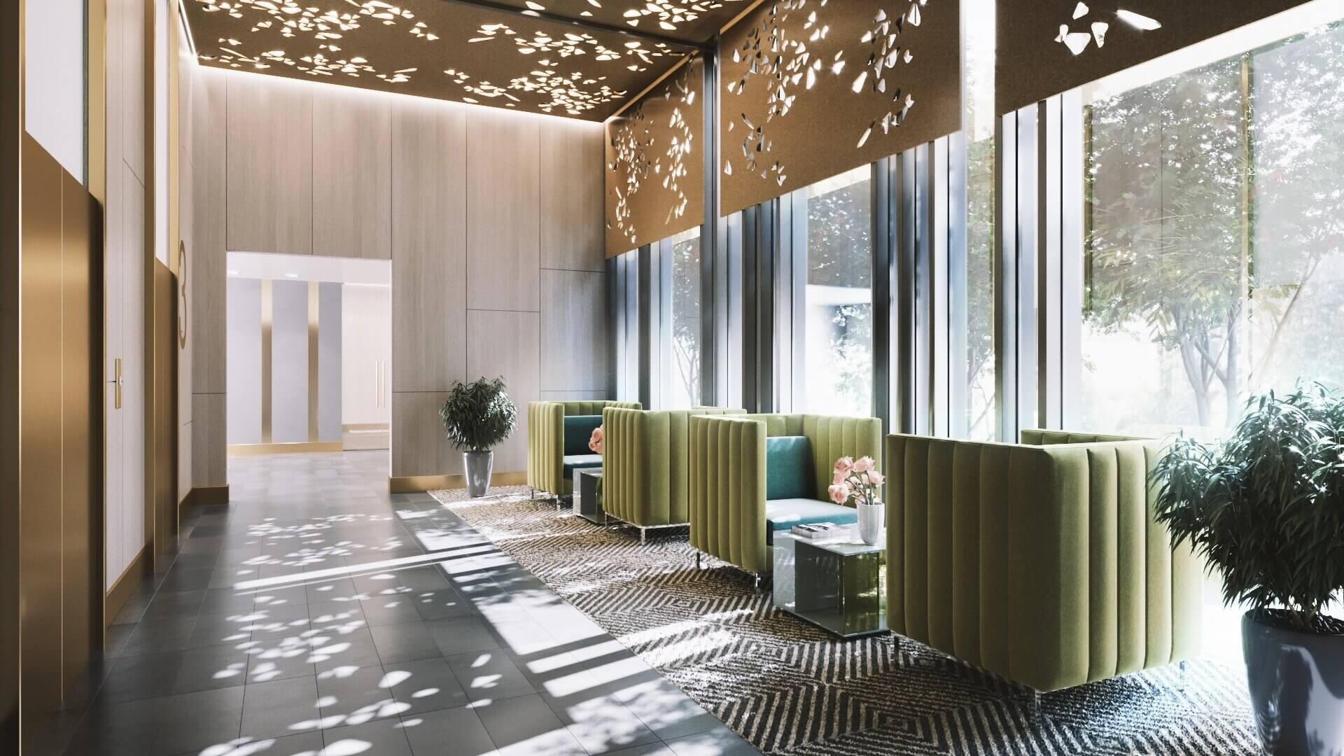 A 3D Image of a Lobby Design