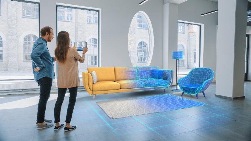 A Young Couple Trying 3D Furnishings for Their Home