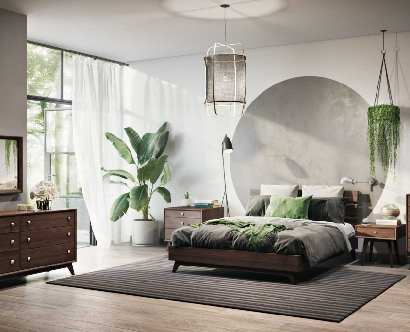 3D Rendering of a Bedroom Set with Additional Objects and Decor