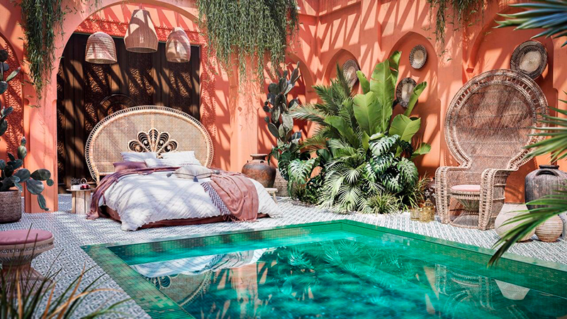 3D Render of a Moroccan Bedroom with Indoor Pool and Exotic Accessories