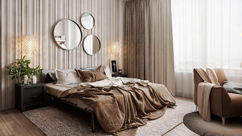 3D Rendering of a Bedroom with Rich Materials and Textures