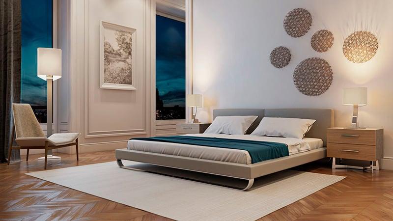 Bedroom 3D Render with an Evening Lighting Scheme