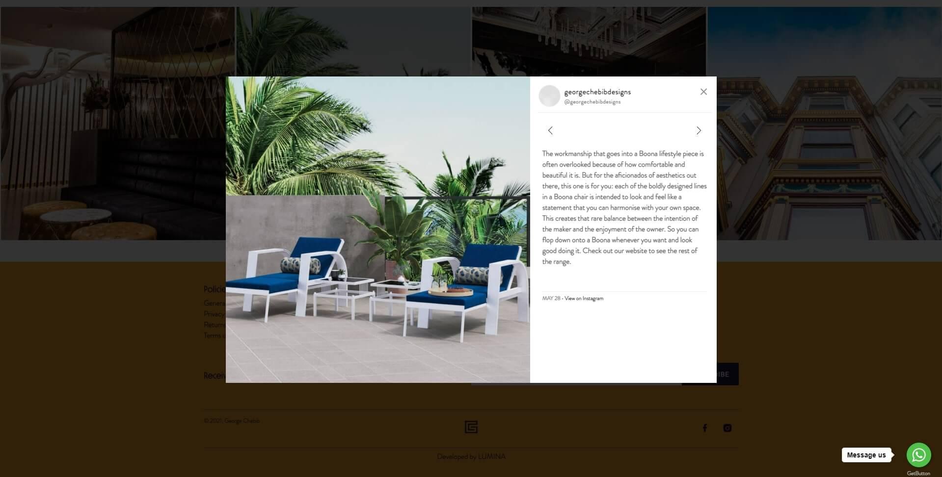 Screenshot from George Chebib Furniture Instagram