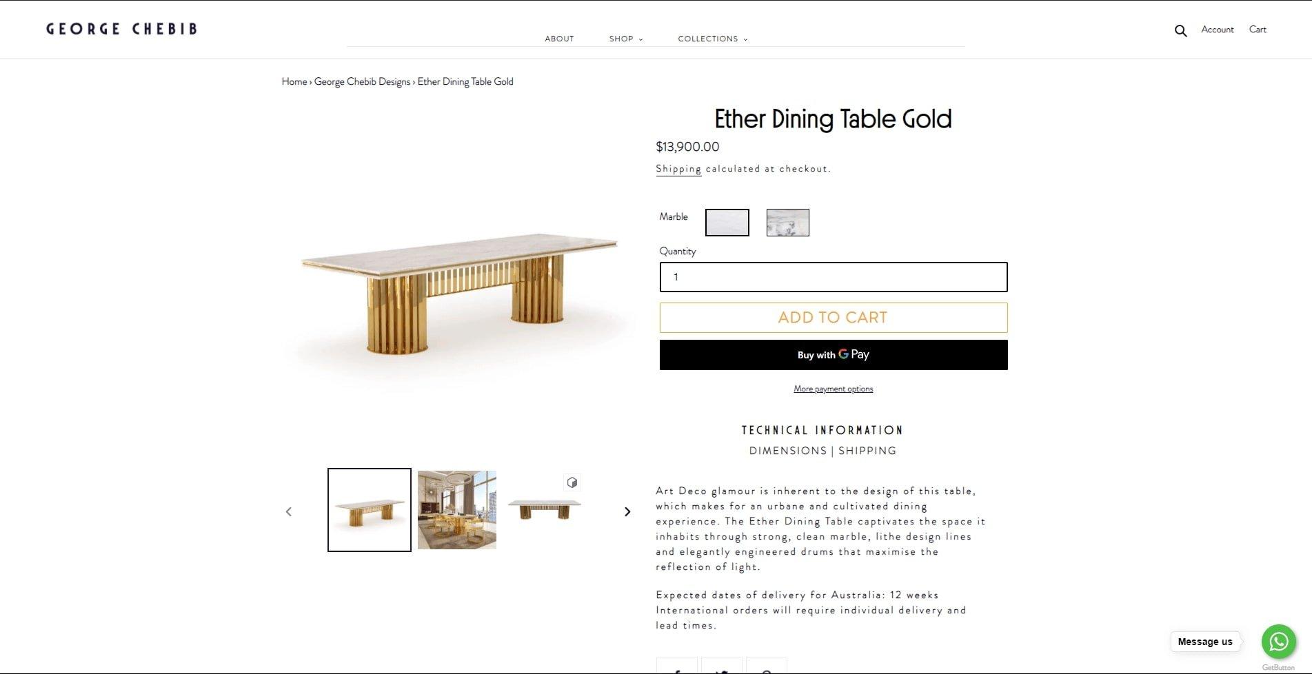 Screenshot Capturing Table Renders Taken on George Chebib Furniture Site