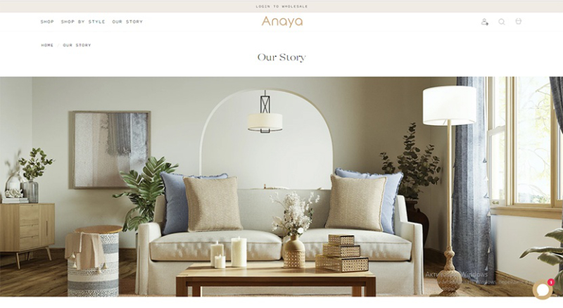 A Main Page of Anaya Website that Promotes New Product Collection to Customers