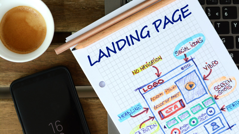 A Drawing Sketch of a Landing Page that Will Help Promoting New Products to Customers