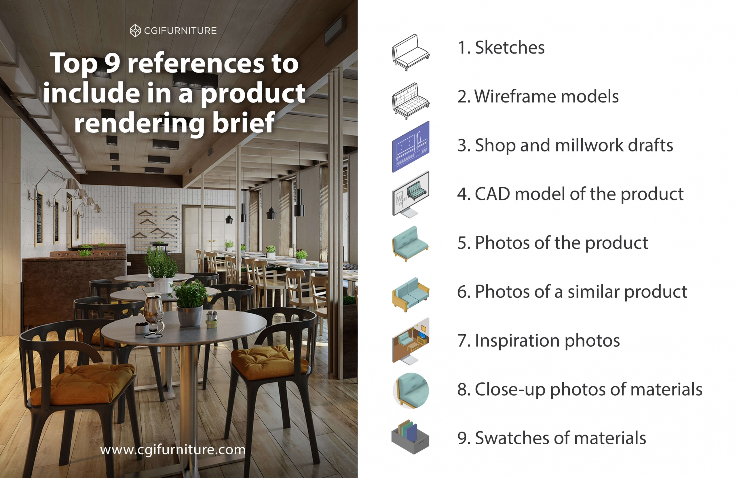 Types of Reference Materials for a Product Rendering Brief