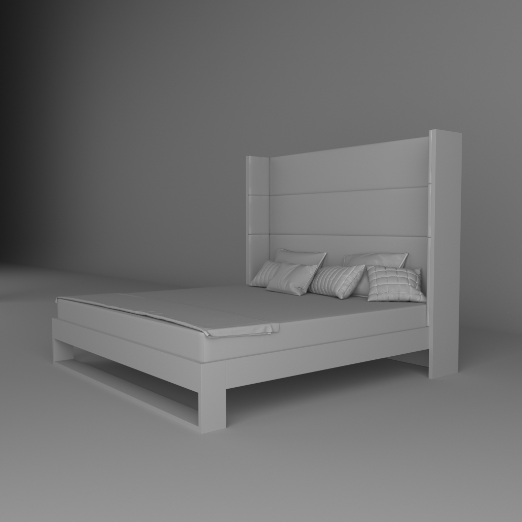 Greyscale 3D Rendering of a Bed