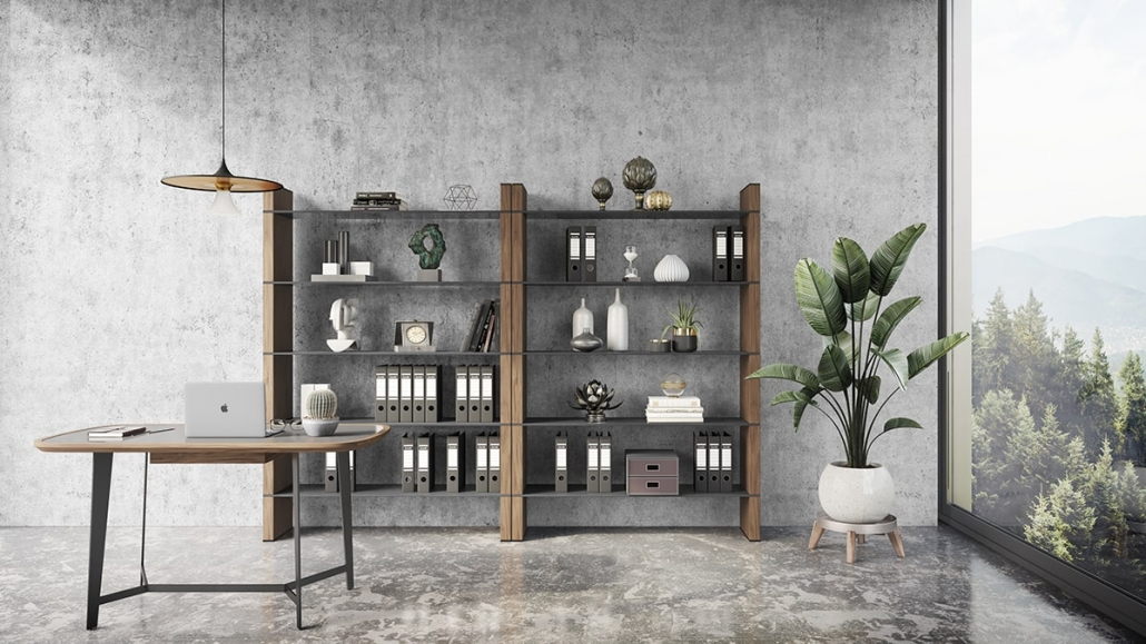 Photorealistic Lifestyle Image Showing Modern Office Furniture Set