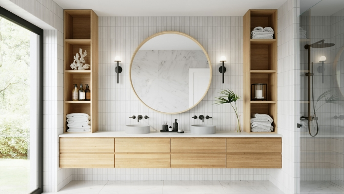 A 3D Rendering of a Bathroom Collection in a Stylish Modern Room Set