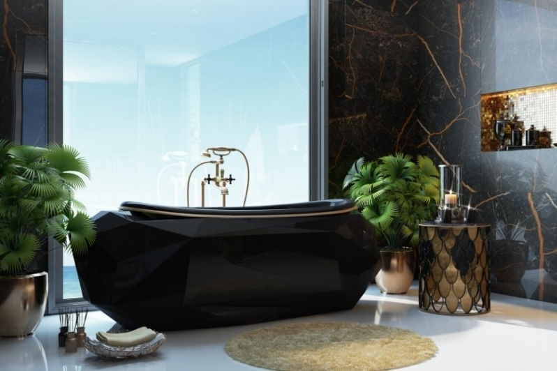 3D Lifestyle Rendering of a Black and Gold Bath with Plenty of Decor