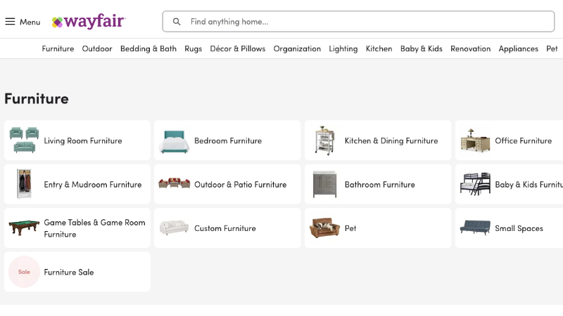 A Screenshot of Wayfair as One of the Most Popular Platforms for Online Product Promo and Sales