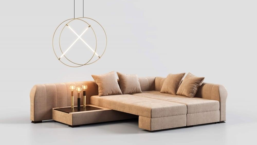 Photorealistic Sofa 3D Model in a Monochrome Scene