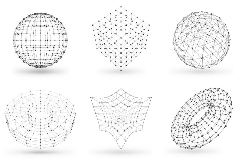 A Graphic with Different 3D Models Made with Polygon Vertices and Edges