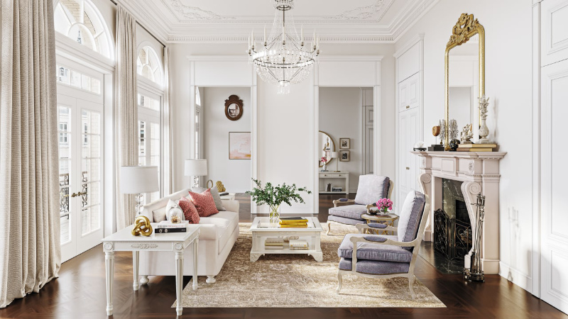 3D Render of a Parisian Chic Home with Luxury Furniture and Decor