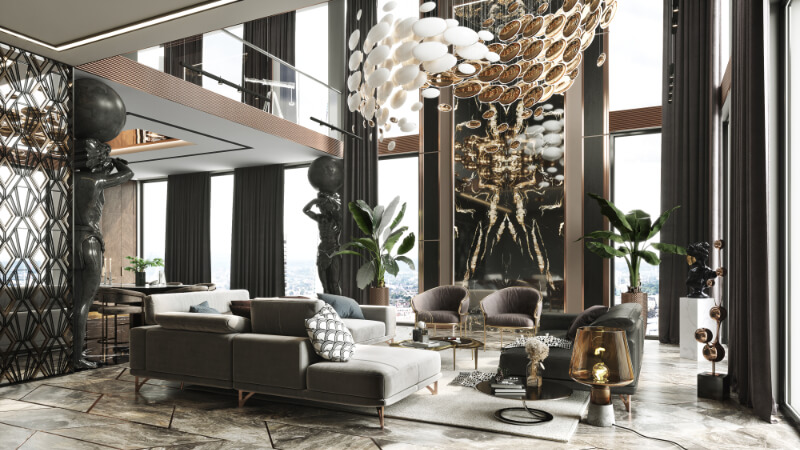 3D Render of a Luxury Mansion with High-End Furniture and Art Pieces