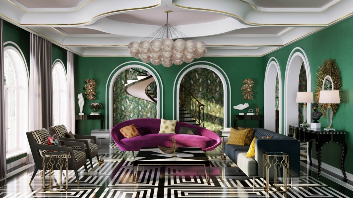 3D Rendering of a Glamorous Living Room with Luxury Furniture and Decor
