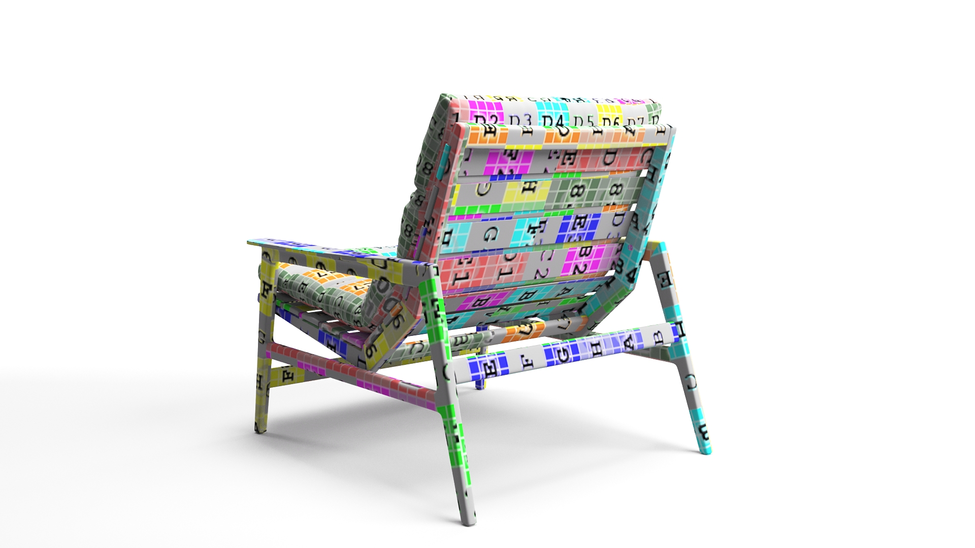 3D Textured Model of a Chair on White