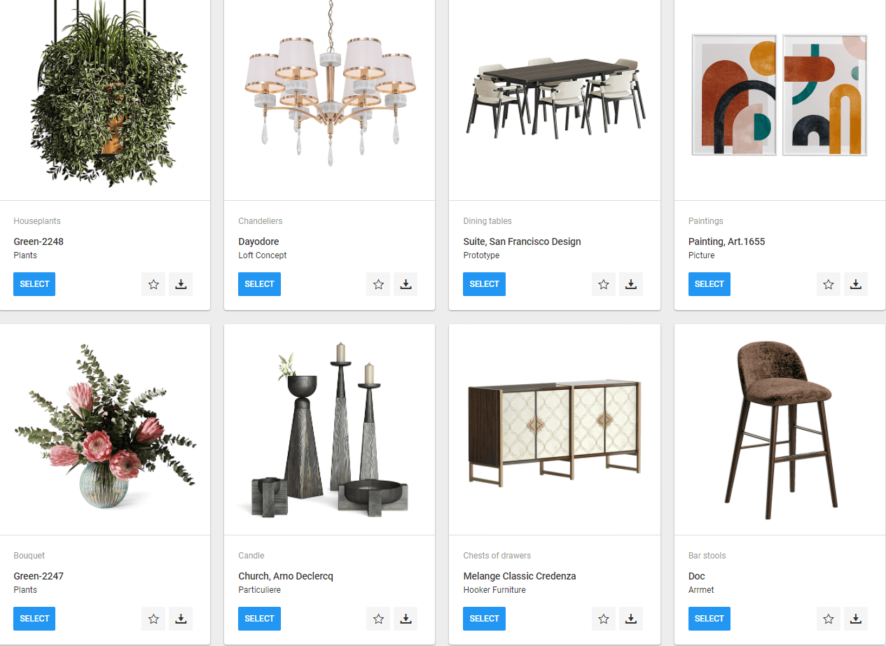 Virtual Library of 3D Models in CGI CRM