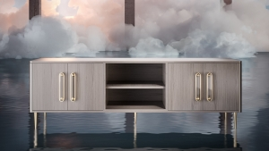 Console 3D Render in an Abstract Scene with Smoke