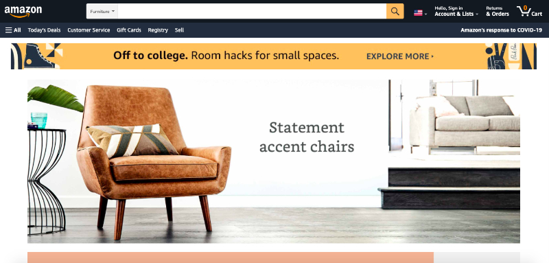 Main Page of Amazon Online Store Where Furniture Brands Sell their Products