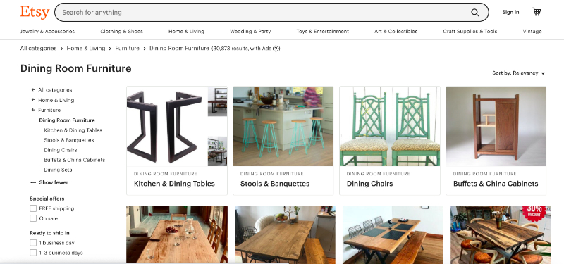 A Screenshot of Etsy Online Marketplace Where Brands Can Sell Their Furniture and Decor