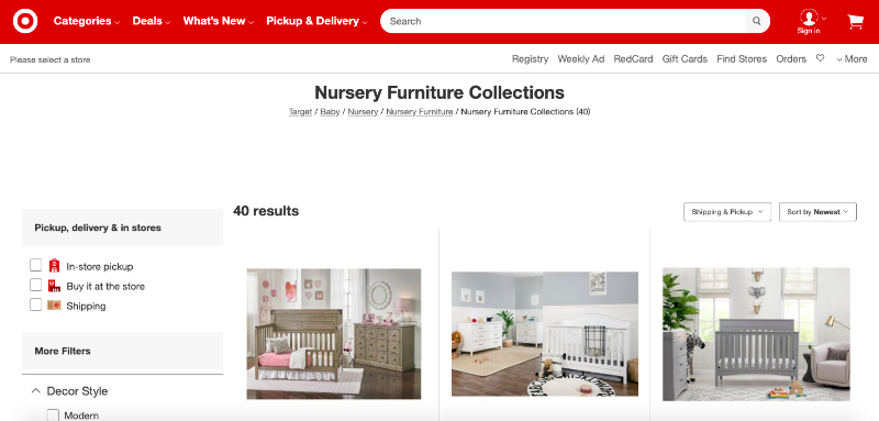 A Screenshot of Target Online Selling Platform Where One Can Find Pieces They Like