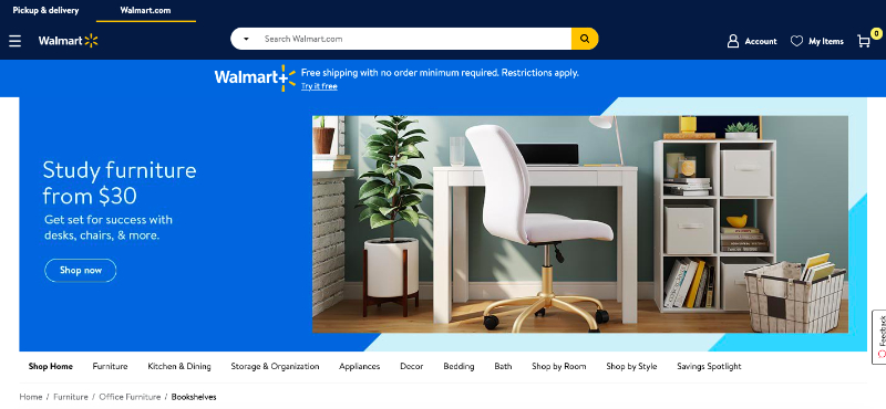 A Screenshot of Walmart Online Store Where Brand Can Sell their Furniture