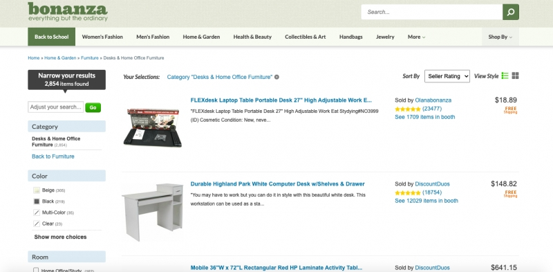 A Bonanza Online Catalog Where Furniture Makers Can Sell Their Goods