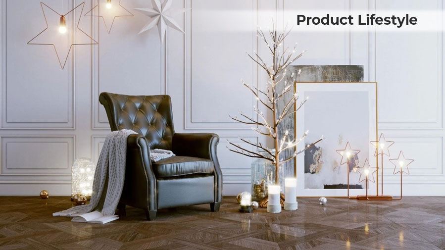 Lifestyle 3D Rendering for a Chair in a Christmas Setting