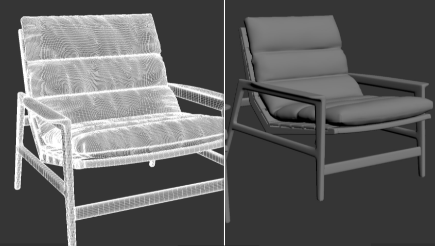 Chair 3D Model Grid and Grayscale