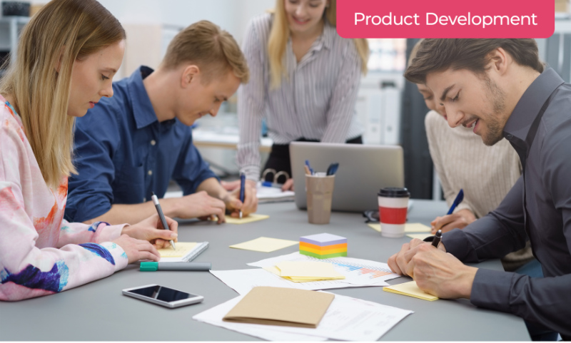 A Group of Marketers Creating Product Development Marketing Strategy