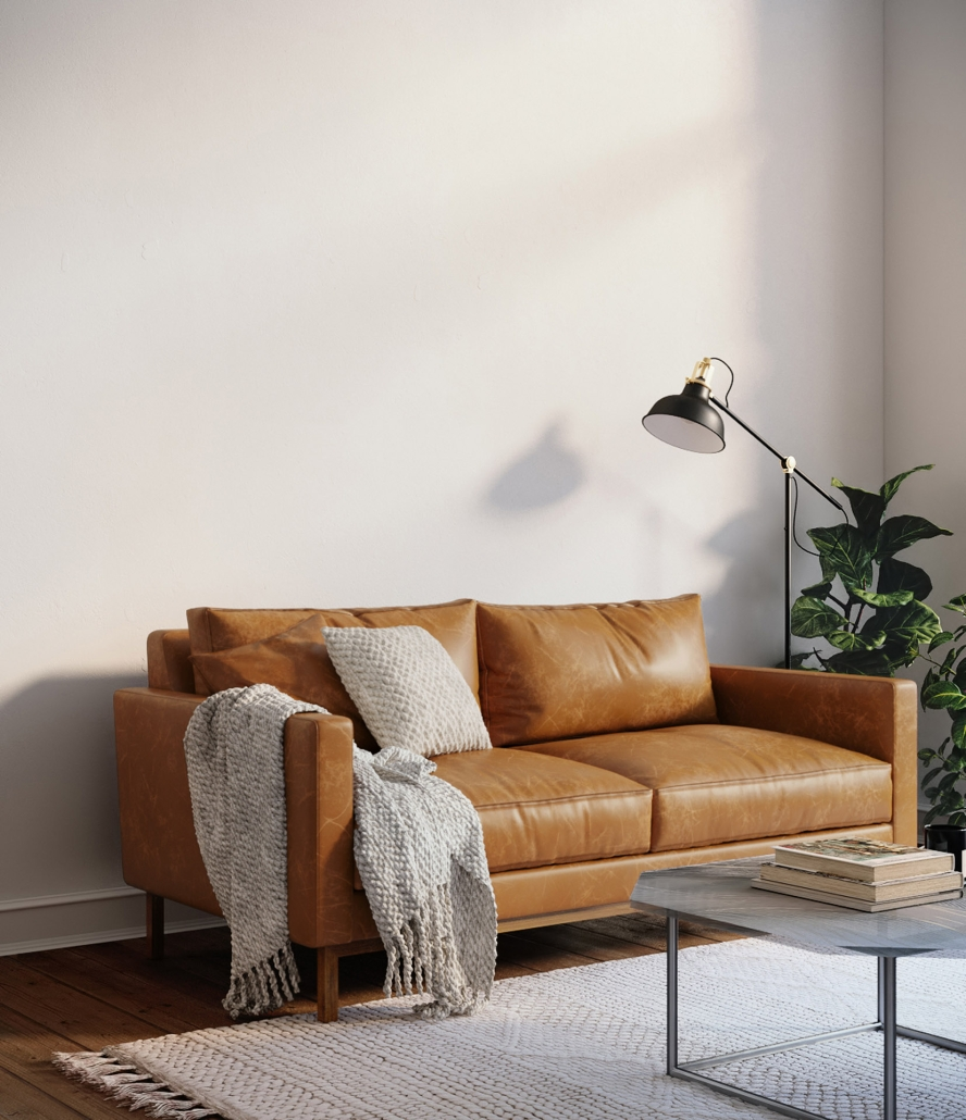 Lifestyle Rendering for a Leather Sofa
