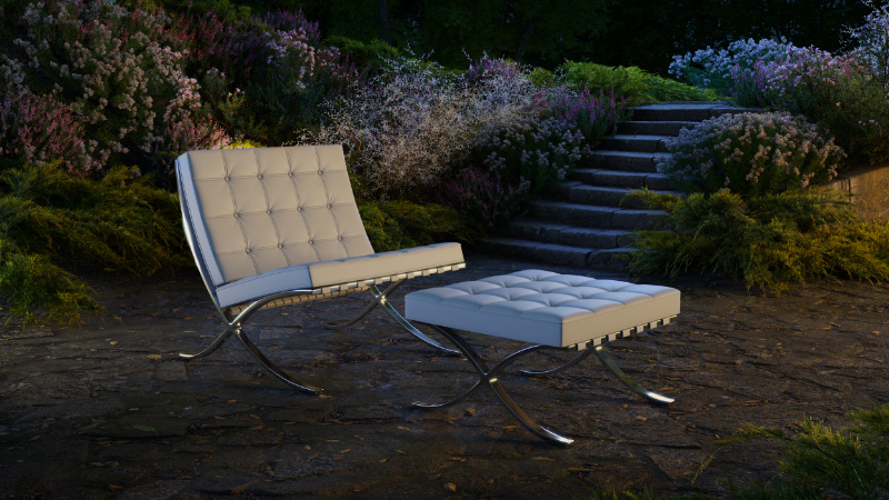 Chair 3D Rendering with Evening Lighting Made at a Decent Price