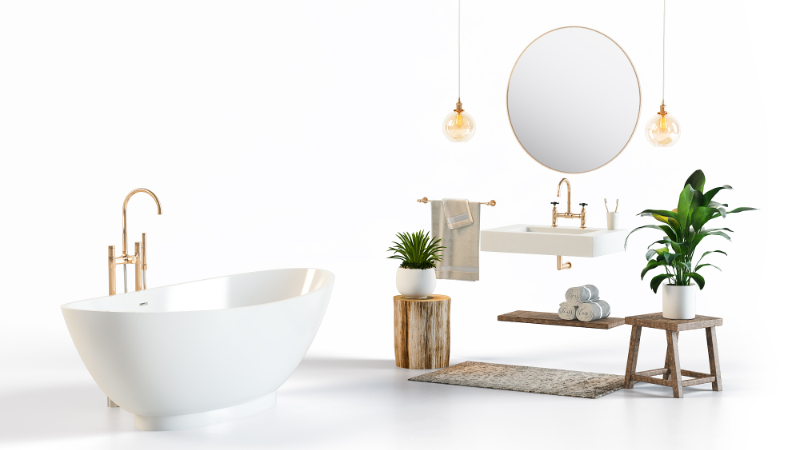 A Silo Image of a Bathroom Set with Shadows that Comes at a Higher Price than One without It