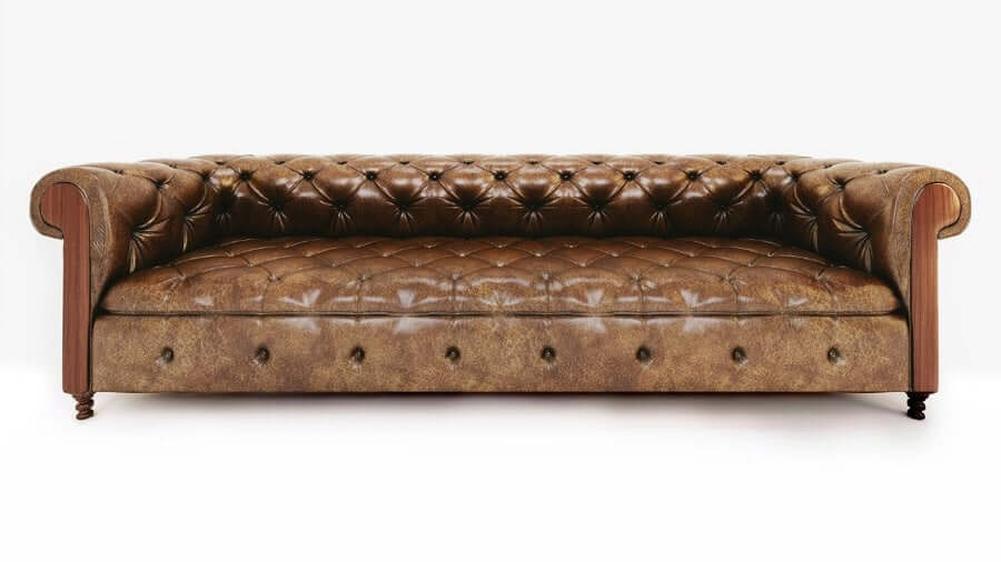 Furniture 3D Model of a Leather Sofa