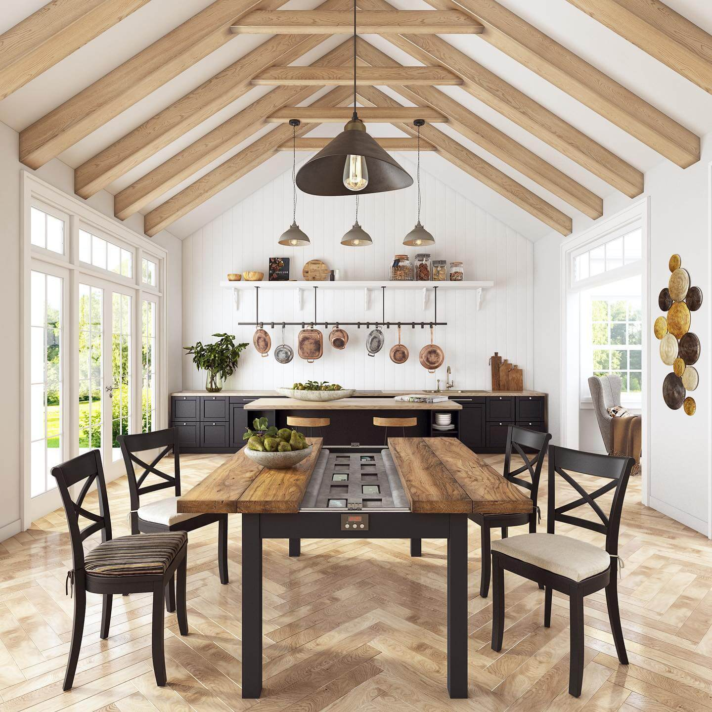 3D Visualization of a Spacious Kitchen