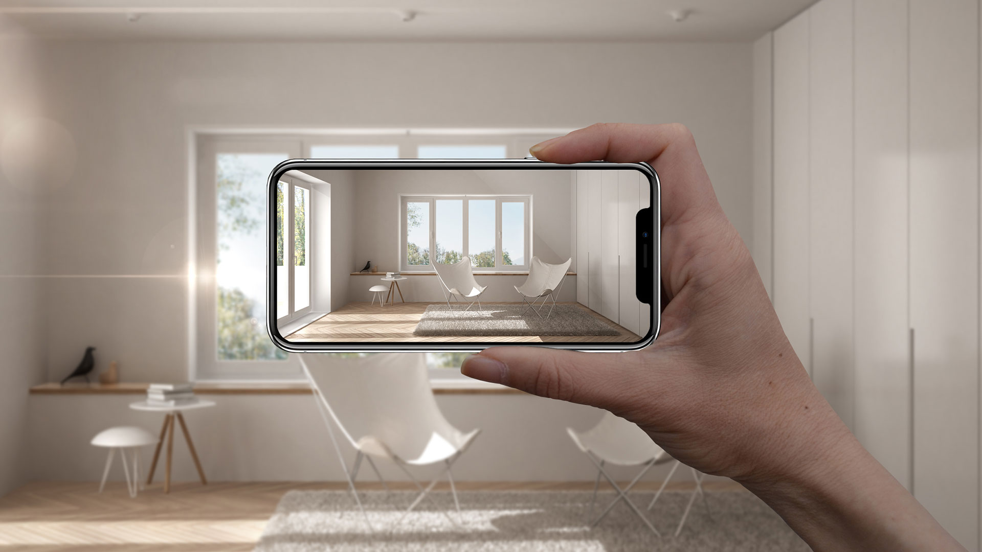 A Person Using an App to Choose Home Furniture